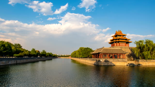 T/L Forbidden city against blue sky and moving cloud,Beijing,China.