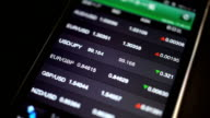 Foreign exchange market chart at smartphone
