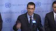 Foreign Minister of Venezuela Jorge Arreaza meets with United Nations Secretary General Antonio Guterres at the United Nations headquarters in New...