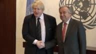 UK Foreign Secretary Boris Johnson meets with Secretary General Antonio Guterres at the United Nations