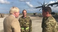 Foreign Secretary Boris Johnson speaks to the pilots of an A400M aircraft and Royal Marines from 40 Commando in Barbados Mr Johnson is visiting...