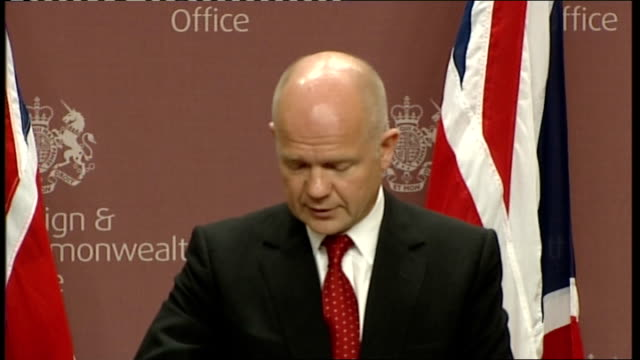 Foreign Secretary William Hague press conference William Hague MP press conference SOT This is in stark contrast to Gaddafi whose brutality against...