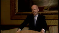 Foreign Secretary William Hague statement on Syrian conflict ***TO London INT William Hague MP along to the podium William Hague speech SOT Met with...