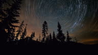 Forest and Mt. Hood with Northern Lights Abstract Star Trails Night Time Lapse