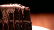 CU, Fork being inserted in chocolate cake