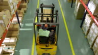 Forklift Operator Working In The Warehouse