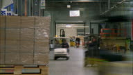 MS T/L Forklifts and motorized vehicles moving goods in busy warehouse / LeBec, California, United States