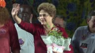 Former Brazilian president Dilma Rousseff participates Wednesday in a political rally for the first time since being impeached lending her support to...
