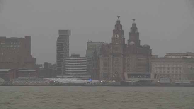 Former Chief Inspector Norman Bettison book on Hillsborough disaster ENGLAND Liverpool EXT Liverpool skyline seen across River Mersey Fishing boat...