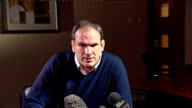 Former England coach Martin Johnson press conference ENGLAND Northampton INT Martin Johnson press conference SOT On the leaked reports very...
