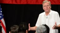 Former Florida Governor and potential Republican presidential candidate Jeb Bush speaks to supporters on stage during a fundraising event by By Right...