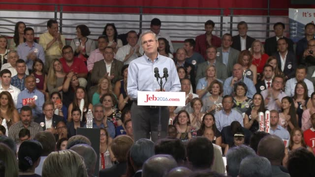 Former Florida Governor son of President George HW Bush and brother of President George W Bush John Ellis 'JEB' Bush announces he is running for the...