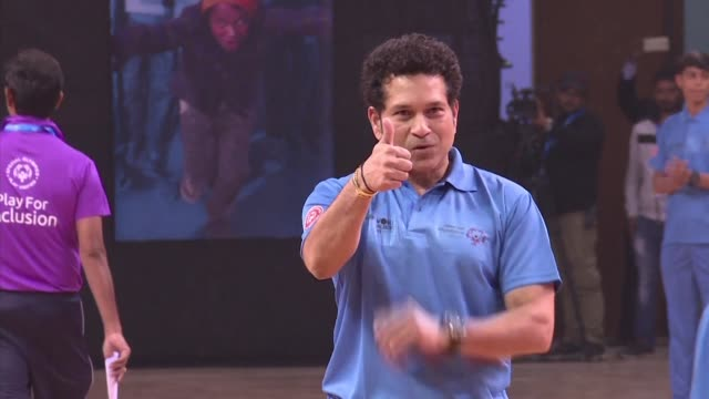 Former Indian cricketer and UNICEF Goodwill Ambassador Sachin Tendulkar marks Universal Children's Day with match with India's Special Olympics team