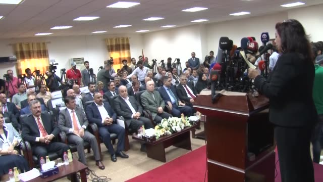 Former Iraqi Prime Minister and head of Iraqi National Accord Ayad Allawi attends a press conference at his new party's headquarters in Baghdad Iraq...