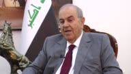 Former Iraqi Prime Minister and the head of the alWataniya bloc Ayad Allawi speaks on the political tension in the country during an exclusive...