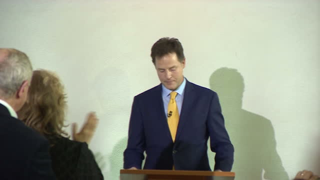 Former Liberal Democrat Leader Nick Clegg walks into presser to applause for his resignation speech on May 08 2015 in London England