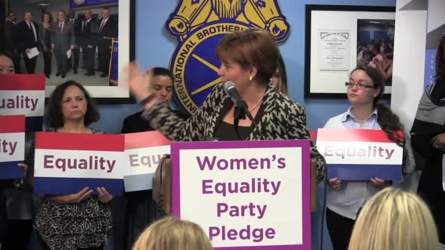 / Former New York City Council Speaker Christine Quinn of Women's Equality Party at Teamsters 237 Headquarters demands Albany vote on equal pay for...