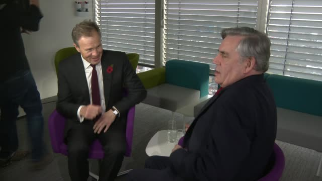 Former Prime Minister Gordon Brown talks about Brexit and offshore tax avoidance ENGLAND London INT Former Prime Minister Gordon Brown into room and...