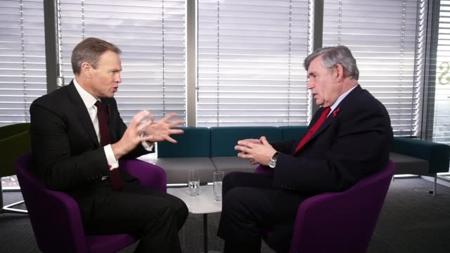 Former Prime Minister Gordon Brown talks about Brexit and offshore tax avoidance London INT Various of Brown interveiw SOT Need to rebuild the...
