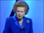 Former Prime Minister Margaret Thatcher makes jokes about her arrival coinciding with film 'The Mummy Returns' during speech at Conservative Party...