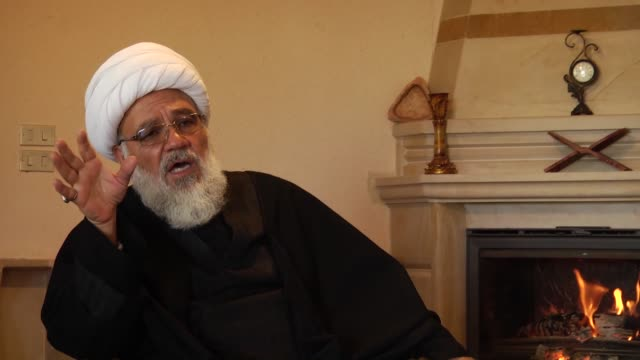 Former secretary general of Hezbollah Sheikh Subhi Tufayli speaks during an exclusive interview in Baalbek town of Beqaa Valley Lebanon on February...