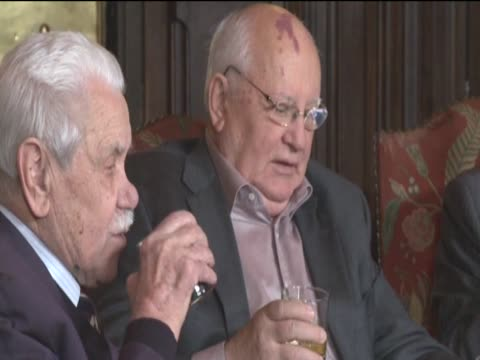 Former Soviet leader Mikhail Gorbachev at a private dinner in Moscow