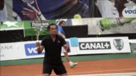 Former tennis pros Yannick Noah Henri Leconte Mansour Bahrami and Guy Forget take part in a promotional event in the Congolese capital