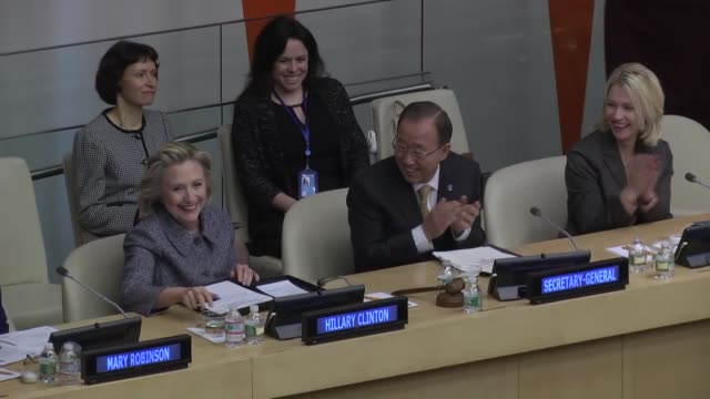 Former United States Secretary of State Hillary Clinton and United Nations Secretary General Ban Kimoon attend Annual Women's Empowerment Principles...