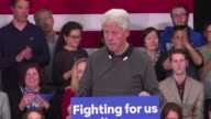 Former US President Bill Clinton holds a rally in Alexandria in support of wife Hillary a few days before the crucial primaries of Super Tuesday