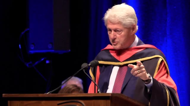 Former US president Bill Clinton receives an honorary doctorate of Philosophy from Dublin City University He gives a speech to the audience and...