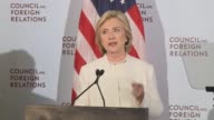 former US Secretary of State and former US Senator from New York Hillary Clinton gives a major speech on foreign policy at the Council on Foreign...