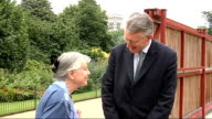 Former Women's Land Army members visit replica allotment in St James' Park with Hilary Benn ENGLAND London EXT Hilary Benn MP along with Elizabeth...
