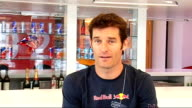 Formula 1 Mark Webber interview Webber interview SOT Talks about road cycling he's been doing / Confident Australia will retain Ashes in summer /...