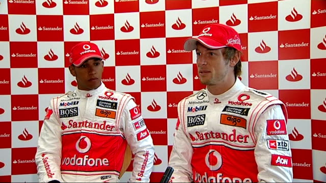 Formula One British Grand Prix preview Lewis Hamilton and Jenson Button photocall and interview Jenson Button and Lewis Hamilton interview SOT...