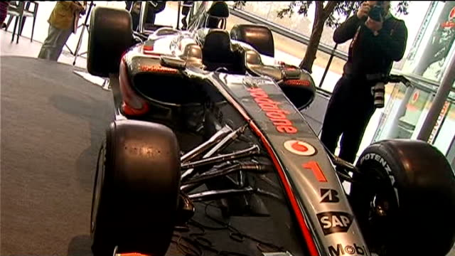 Formula One McLaren Mercedes launch car for 2009 season report from launch ENGLAND Surrey Woking McLaren Headquarters INT Lewis Hamilton and Heikki...