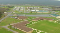 MS AERIAL Fort Indiantown Gap fort buildings in Lebanon County / Pennsylvania, United States