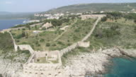 WS AERIAL fortress Pylos, Pilos. also Known as Neokastro town / Pylos, Pilos, Peleponnesus, Peloponnese, Greece