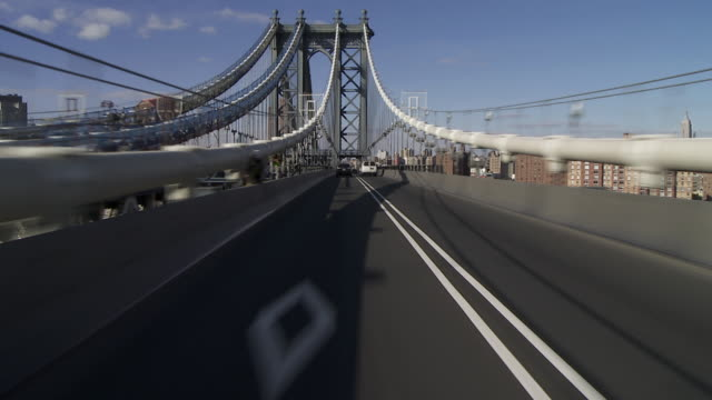 Forward POV driving over the Manhattan Bridge from Brooklyn to Manhattan