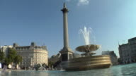 MS, Fountain and Nelson's Column in Trafalgar Square, London, England