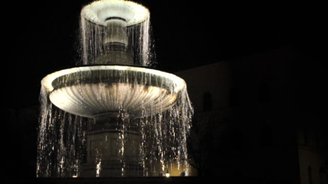 Fountain at Ludwigstreet, Munich, Germany, night (HD720p)