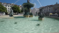 Fountain in the Rossio Square in Lisbon