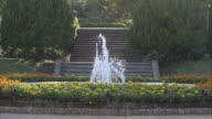 Fountains and flower beds