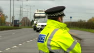 Four arrested at antifracking protest in Salford ENGLAND Greater Manchester Salford EXT Police officers and police vans Line of police officers in...