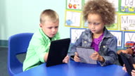 Four multi-ethnic children in schiool using digital tablets