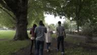 Four Teens walking through a park.