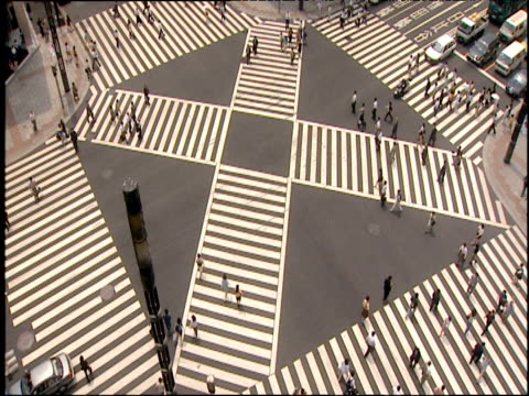 Four-way Tokyo road junction cars cross then pedestrians
