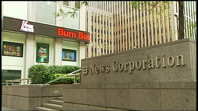Fox News accused of racial bias and sexism DATE New York EXT 'News Corporation' sign outside Fox News Headquarters Fox News