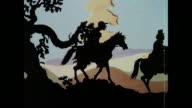 MONTAGE Fox-hunters on horseback, a cherub sending the hiding fox a greeting and promoting greetings telegrams / United Kingdom