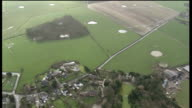 Fracking to continue with close monitoring AIR VIEWs / AERIALs patchwork of fields and houses