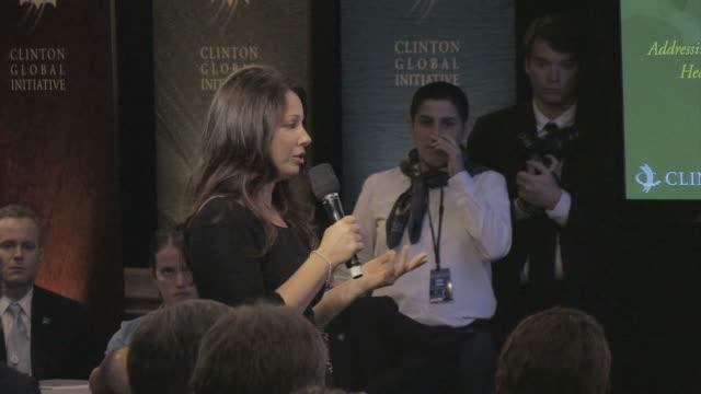 MS Fran Drescher talking on microphone / New York City New York USA / AUDIO